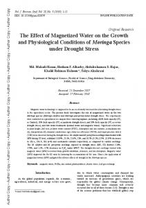 The Effect of Magnetized Water on the Growth and Physiological