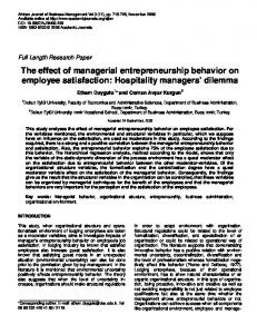 The effect of managerial entrepreneurship ... - Academic Journals