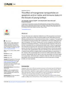 The effect of manganese nanoparticles on apoptosis and on ... - Plos