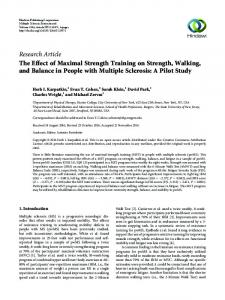The Effect of Maximal Strength Training on Strength, Walking, and ...