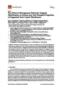 The Effect of Microporous Polymeric Support Modification on Surface ...