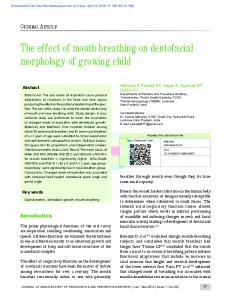 The effect of mouth breathing on dentofacial