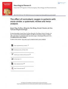 The effect of normobaric oxygen in patients with acute ...