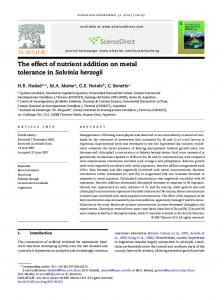 The effect of nutrient addition on metal tolerance in
