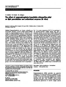 The effect of organophosphate insecticide chlorpyrifos-ethyl on lipid ...