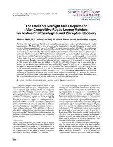 The Effect of Overnight Sleep Deprivation After Competitive Rugby