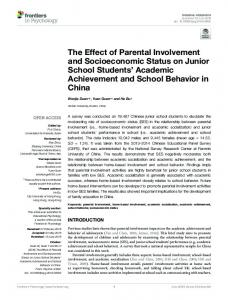 The Effect of Parental Involvement and