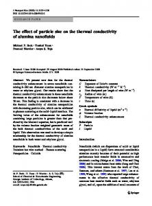 The effect of particle size on the thermal conductivity of ... - Springer Link