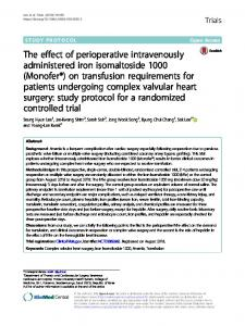 The effect of perioperative intravenously administered ... - Trials Journal