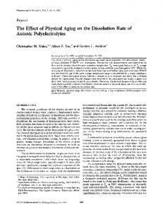 The Effect of Physical Aging on the Dissolution ... - Semantic Scholar