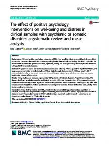 The effect of positive psychology interventions on well-being and
