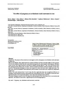 The effect of pregnancy on orthodontic tooth