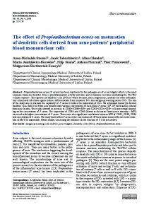 The effect of Propionibacterium acnes on maturation of dendritic cells ...