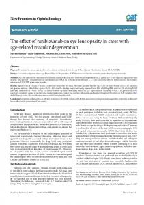 The effect of ranibizumab on eye lens opacity in cases with ... - OAText