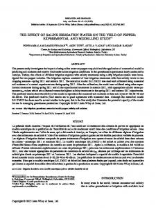 The Effect of Saline Irrigation Water on the Yield of
