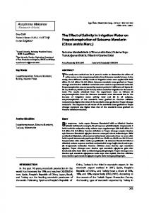 The Effect of Salinity in Irrigation Water on ... - DergiPark