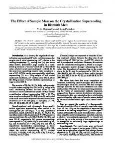 The effect of sample mass on the crystallization supercooling in ...