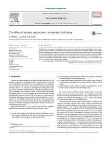 The effect of sample preparation on uranium hydriding