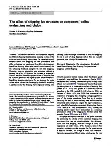 The effect of shipping fee structure on consumers' online evaluations ...