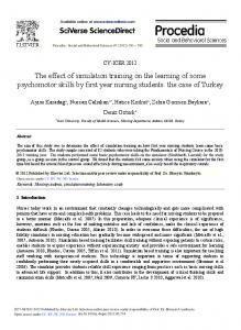 The Effect of Simulation Training on the Learning of some ...