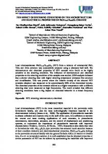 THE EFFECT OF SINTERING CONDITIONS ON THE ...