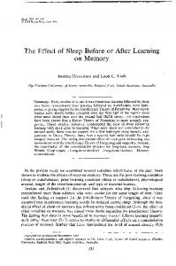 The Effect of Sleep Before or After Learning on Memory