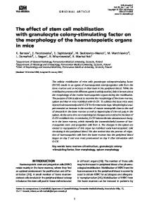 The effect of stem cell mobilisation with granulocyte colony-stimulating ...