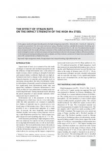 THE EFFECT OF STRAIN RATE ON THE IMPACT STRENGTH OF