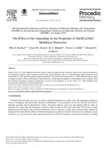 The Effect of the Annealing on the Properties of ... - ScienceDirect.com