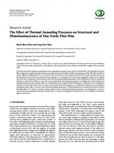 The Effect of Thermal Annealing Processes on Structural and ...