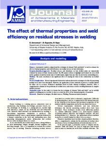 The effect of thermal properties and weld efficiency on residual ...