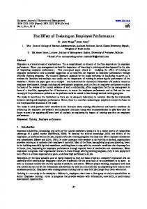 The Effect of Training on Employee Performance