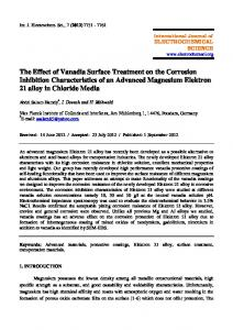 The Effect of Vanadia Surface Treatment on the Corrosion Inhibition ...