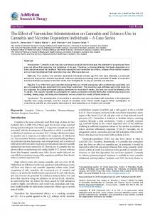 The Effect of Varenicline Administration on Cannabis and Tobacco ...