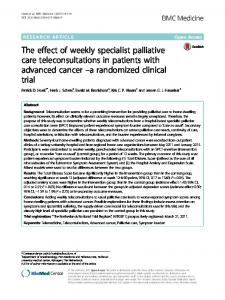 The effect of weekly specialist palliative care ... - BMC Medicine