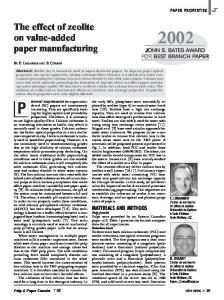 The effect of zeolite on value-added paper manufacturing