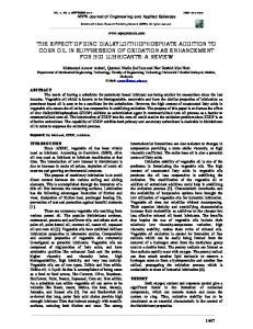 THE EFFECT OF ZINC DIALKYLDITHIOPHOSPHATE ADDITION TO ...