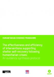 The effectiveness and efficiency of interventions ...