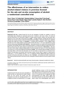 The effectiveness of an intervention to reduce alcohol-related violence ...