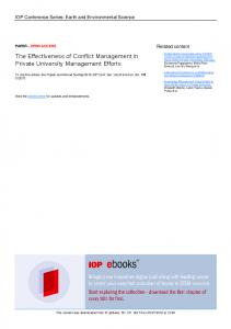 The Effectiveness of Conflict Management in Private