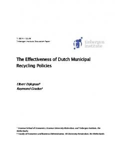The Effectiveness of Dutch Municipal Recycling Policies
