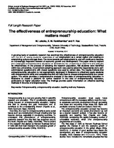 The Effectiveness of Entrepreneurship Education - Academic Journals