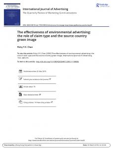 The effectiveness of environmental advertising: the ...