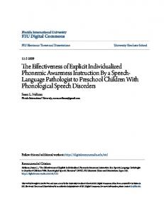 The Effectiveness of Explicit Individualized Phonemic Awareness ...