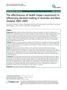 The effectiveness of health impact assessment in ... - BioMed Central