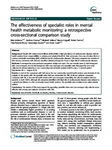 The effectiveness of specialist roles in mental health metabolic ...