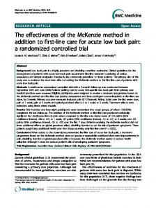 The effectiveness of the McKenzie method in ... - BioMed Central