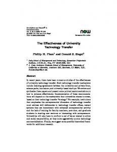 The Effectiveness of University Technology Transfer - (SSRN) Papers