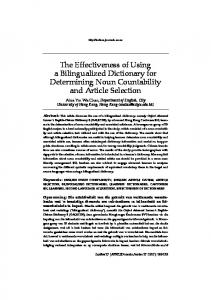 The Effectiveness of Using a Bilingualized Dictionary for Determining ...