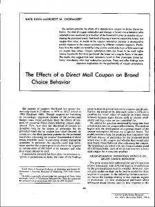 The Effects of a Direct Mail Coupon on Brand Choice Behavior.